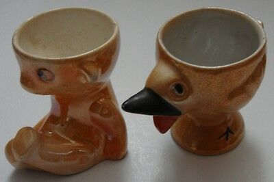 Two Vintage Lustre Egg Cups, Chick and Teddy