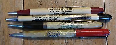 Lot of 4 Vintage Advertising Mechanical Pencils, Circa 1960s