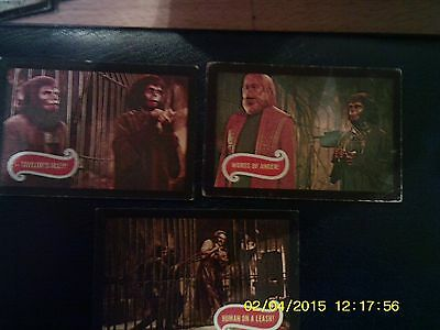 3 rare cards (Nos 22,23 & 24) from A & BC Gum Planet of the Apes