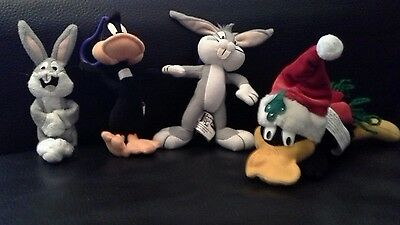 warner bros, looney tunes daffy duck, bugs bunny soft toy and keyrings
