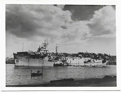 HMS Trouncer - at anchor in Valetta harbour, Malta for Christmas 1945