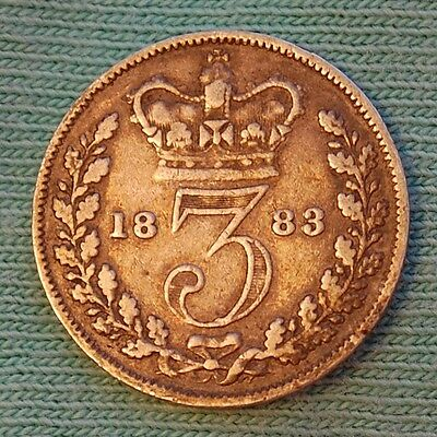 1883 Victoria Young Head Silver Threepence (aF)