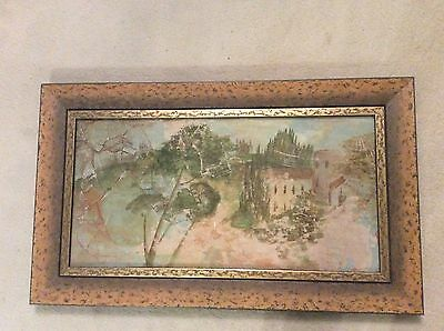 Large Rare Vintage Oriental Picture For Restoration Or Fabulous Frame 74x 44 Cm