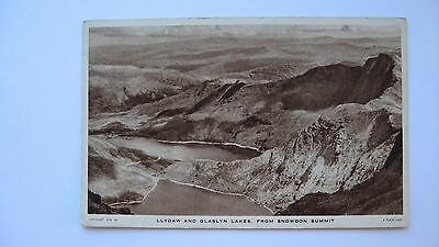 Old Vintage Postcard Llydaw and Glaslyn Lakes, from Snowdon Summit real photo