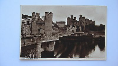 Old Vintage Postcard Conway Castle and Bridge real photograph