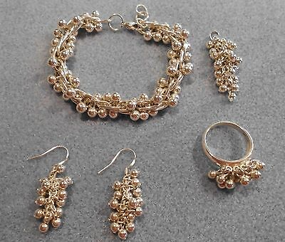 Set Of 925 Solid Sterling Silver & Silver Plate 'bobble' Bead Jewellery
