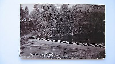 Old Vintage Postcard Stepping Stones, Bothal real photograph
