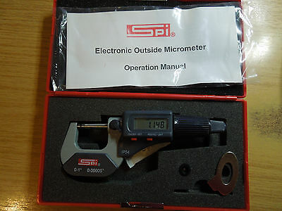 """SPI Quality  0-25mm 0-1"""" Digital Micrometer With Ball End, case, IP54 Auto conv'"""
