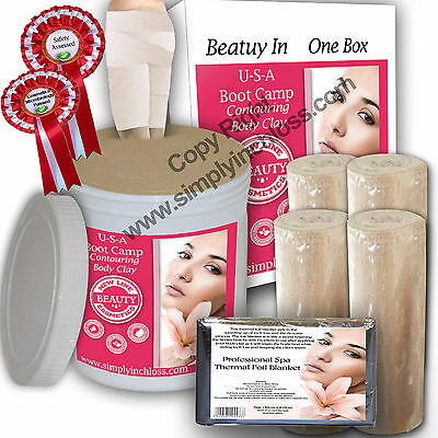 1ltr & 4 slimming Bandages Kit Bums/tums body wrap clay/inch loss/toning£16.59