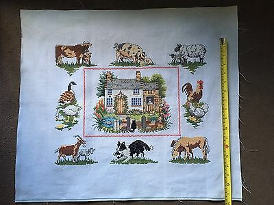 Hand Stitched Farm Animal Large Completed Embroidery