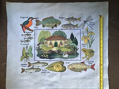 Hand Stitched Large Completed Water Wildlife Embroidery