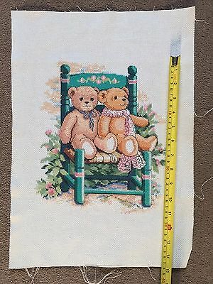 Hand Stitched Completed Teddy Embroidery