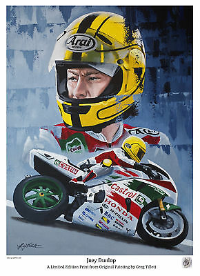 JOEY DUNLOP limited edition print signed by artist Greg Tillett TT MOTOGP
