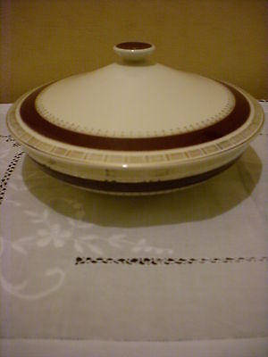 Vintage Crown Ducal 'Chatsworth' Red Lidded Serving Dish