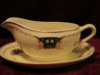 Ridgway Portland Pottery Cobridge Sauce Boat on Plate