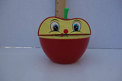 VINTAGE Wind-Up TOY BANK Apple Worm Plastic Toy Bank Hong Kong