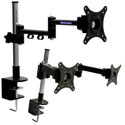 "1 or 2 Arm LCD Monitor Desk Mount Stand Holder Bracket Desktop 10-26"" 15 kg"