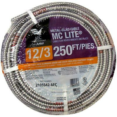 Solid MC Lite AFC Cable Systems 12/3 x 250 ft Grounded Copper Electrical Armored