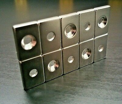 "10 Huge Neodymium Block Magnets. Super Strong Rare Earth N52  3/4"" x 1/2"" x 1/8"""