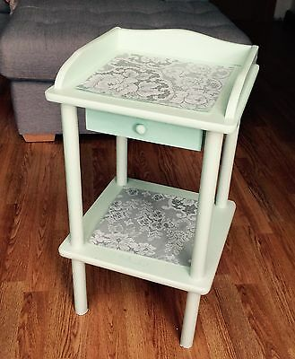 Telephone Side, Plant Stand, Bedside Wooden Table. Hand Painted Green. Rustic.