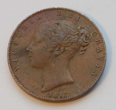 1847 Victoria Young Head Copper Farthing (VF)