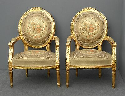 Pair Vintage French Rococo Ornate Gold Gilt Carved Tapestry ACCENT CHAIRS
