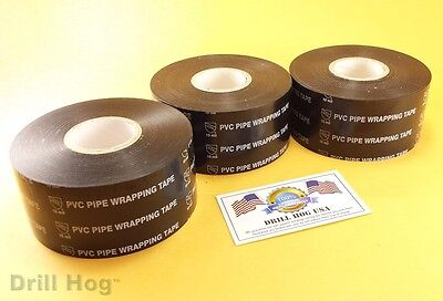 """2"""" x 100 Pipe Wrap Tape Pipe Insulation Pipe Wrapping Tape 3 Rolls Drill Hog USA"""