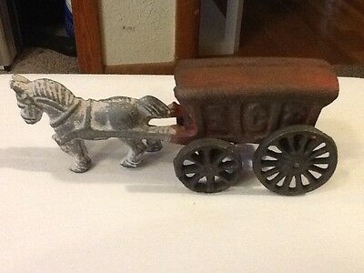 Cast Iron Toy Horse Drawn Ice Cart Wagon Vintage