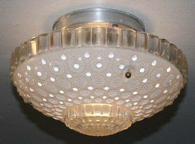 Antique semi flush frosted glass art deco 1000 eye light fixture chandelier 40s