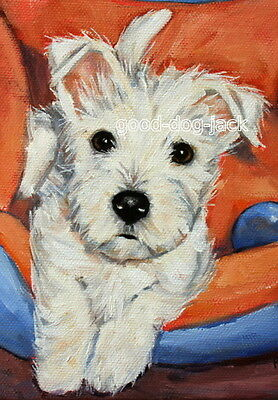 """West Highland Terrier ACEO WESTIE PRINT Painting """"LITTLE PUPPY"""" Dog RANDALL"""