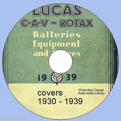 1930s Lucas Parts Catalogue DVD - with testing /maintainance