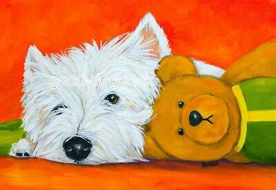 """West Highland Terrier ACEO WESTIE PRINT Painting """"RESTING"""" Dog Art RANDALL"""