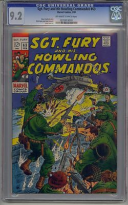 Sgt. Fury And His Howling Commandos #63 Cgc 9.2 Off-White To White Pages Marvel