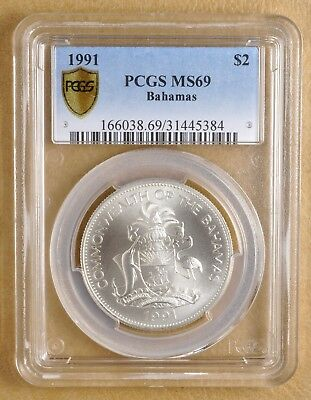 1991 Bahamas 2 Dollar Coin PCGS MS69, Only 600 Minted.