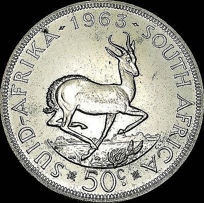 1963 South Africa Large 50 Cents Silver Coin