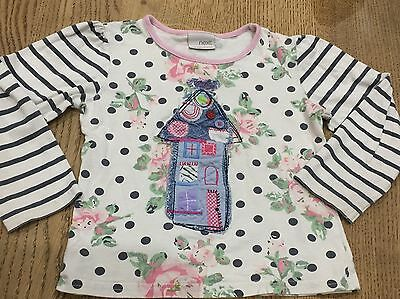 Next Girls long sleeved really pretty top 2-3 years, 24-36 months exc cond