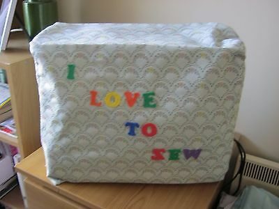 "Sewing Machine cover100% Polyester  lined15""x12""x5""Grey multi with I Love To Sew"