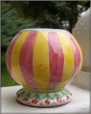 Nwt Rare Mackenzie Childs 2010 Serendipity Striped Petite Bulbous Vase Container