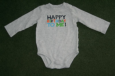 """Toddler Baby """"Happy Birthday"""" Oneies Long Sleeve Shirt Carters Size 18 Months"""
