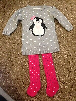Gorgeous, cute winter outfit for baby girl 6-9 months. jumper/tights