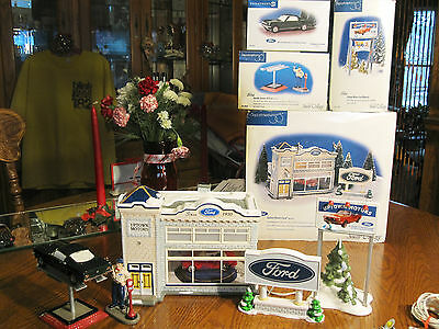 Dept 56 Snow Village ~ UPTOWN MOTORS FORD 54941 ~ PLUS Accessory Lot ~ Exc Cond