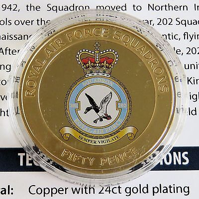 ROYAL AIR FORCE No 202 SQUADRON 2013 GUERNSEY 24ct GOLD PLATED 50 PENCE - coa