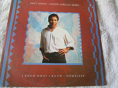 "Paul Simon ""Under African Skies/I Know What I Know/Homeless"" UK Warner Bros 12"""