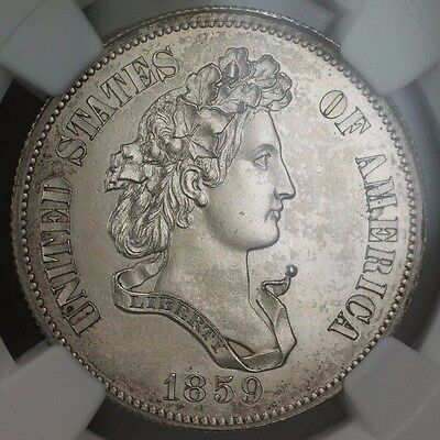 1859 50c Silver Half Dollar Pattern Proof Coin J-239 NGC PF-61 WW