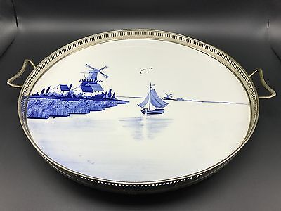 Silver plate Gallery Tray With Porcelain Insert Painting Signed 36.Antique Style