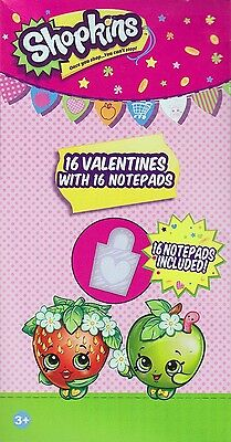 Shopkins Valentine Cards with 16 Notepads Valentines Party Favors