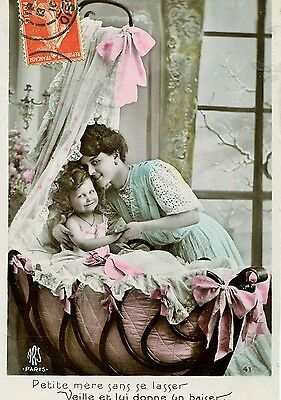Old French Postcard: Mother With Baby In Crib