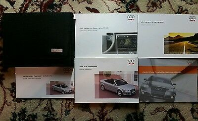 2009 Audi A4 Cabriolet Owners Manual, Navigation Manual Complete Set With Case