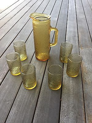 Amber Textured Jug And Glasses Set