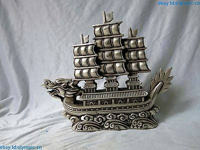 """10"""" China silver Feng Shui Smooth sailing Dragon Boat Sculpture Statue"""